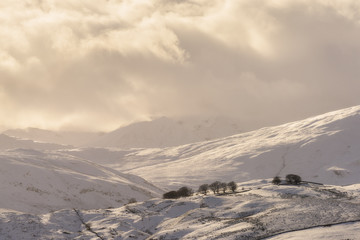 Snow covered hillside in the Lake District