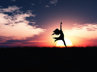 3D female jumping in joy against a sunset landscape