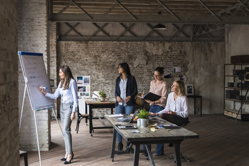 Group of businesswomen during a meeting in a modern space