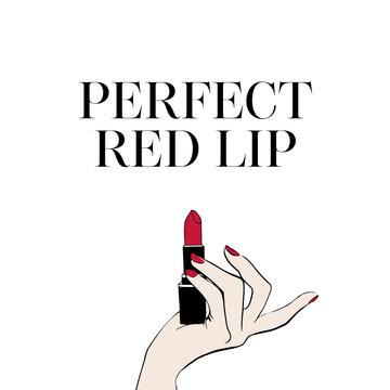 Female hand with red lipstick. Hand drawn lipstick. Perfect red lips Inspirational vector typography. Hand drawn holiday lettering. Ink illustration. Modern brush calligraphy. But first makeup