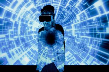 Woman in virtual environment