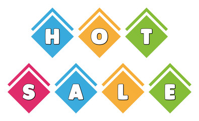 Hot Sale - typography in multi-colored boxes on white background
