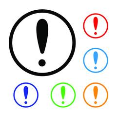 Vector illustration of minimalistic exclamation mark thin line art emotions logo colorful set