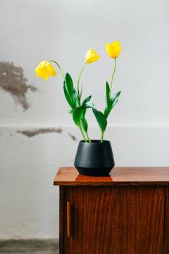Black vase with tulips on top of vintage sideboard