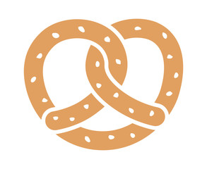 Soft pretzel twisted knot bread flat color vector icon for apps and websites
