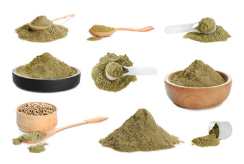 Set with hemp protein powder on white background