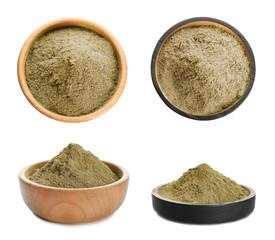Set with bowls of hemp protein powder on white background