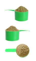 Set with scoops and hemp protein powder on white background