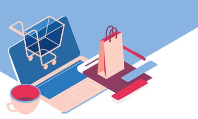 Online shopping concept desktop with computer and paper bag, isometric illustration