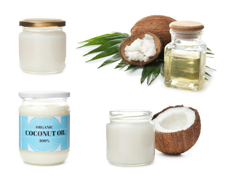 Set with coconut oil on white background