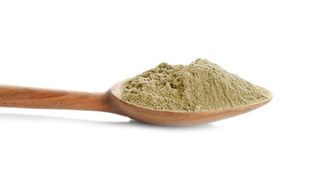 Spoon with hemp protein powder on white background