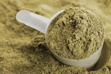 Hemp protein powder and measuring scoop, closeup