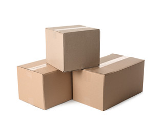 Cardboard boxes on white background. Mockup for design