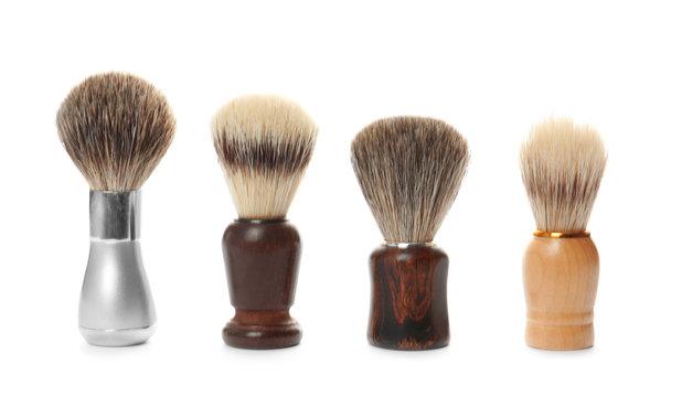 Shaving brushes for men on white background