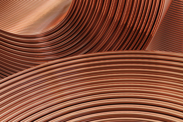 Closeup of copper wires. 3D illustration