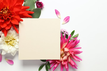 Flat lay composition with beautiful dahlia flowers and blank card on white background