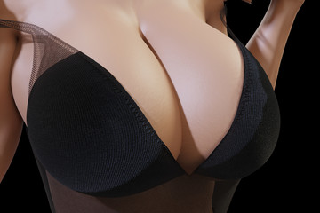 Woman with huge breasts in black sheer negligee with deep neckline