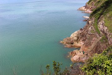 View of cliffs and ocean as seen from Sunshine View Point at Ko Proet in Laem Sing district of Chanthaburi, eastern Thailand.