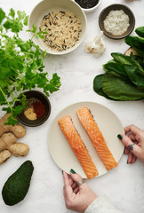 Salmon and ingredients.