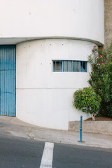 Blue garage door and building in Madeira