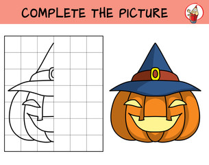 Complete the picture of a halloween pumpkin. Copy the picture. Coloring book. Educational game for children. Cartoon vector illustration