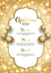 Christmas background with golden hanging baubles