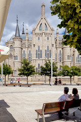 ASTORGA, SPAIN - AUGUST 9, 2018 -  View of the gothic cathedral of Astorga, along the Saint James way