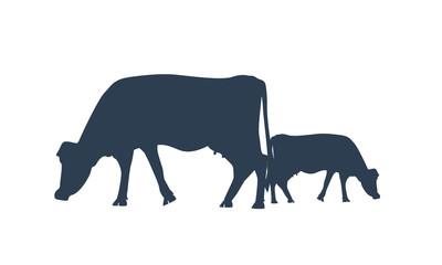 Silhouette of two cows. Vector Cow icon or symbol for milk or meat or farm animal concept.