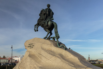 The equestrian statue of Peter the Great, known as the Bronze Horseman.