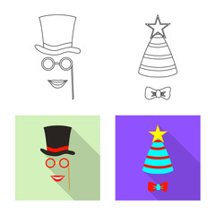Isolated object of party and birthday icon. Set of party and celebration stock symbol for web.