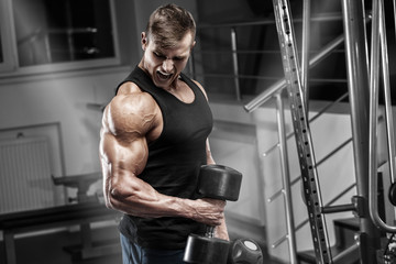 Muscular man working out in gym with dumbbells, bodybuilder male