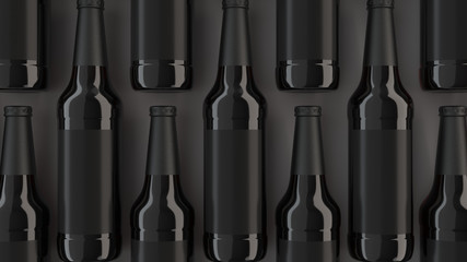 Rows of tall beer bottles with blank labels