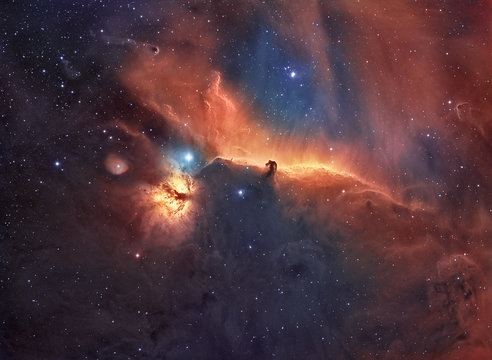 The Horsehead and flame nebula Hubble Space telescope palette