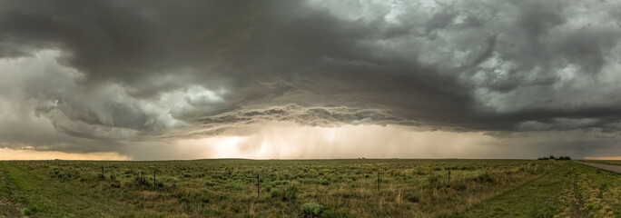 Panorama of a severe thunderstorm over the Black Mesa Park at the border of Oklahoma and New Mexico