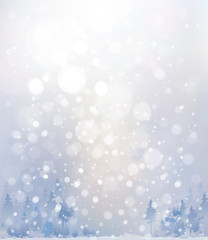Vector winter snow  landscape. Winter  forest background.