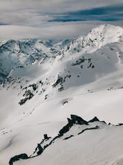 White Alpine Mountain Backcountry Winter Panorama