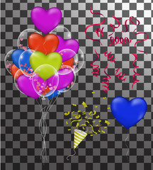 Happy Birthday greeting card template with festive color confetti stars and balloons pattern