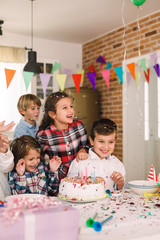 Children celebrate birthday at home