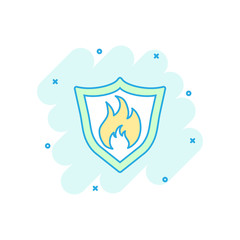 Vector cartoon fire warning shield sign icon in comic style. Flame protection sign illustration pictogram. Fire business splash effect concept.