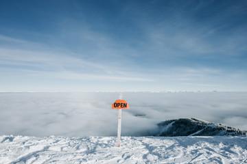 Open sign for a double black diamond run.
