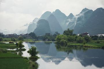 Countryside view over Li river among mountains