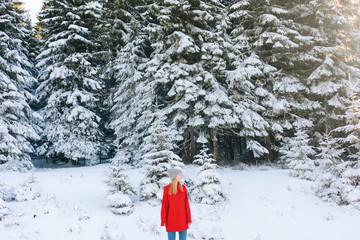 Portrait of Woman in Snowy Mountain