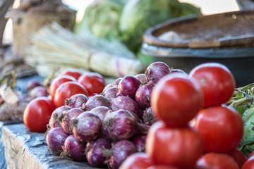 Gemüse Händler auf einem Markt in Malawi