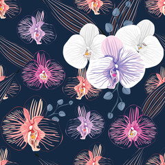 Seamless pattern white and Pink Orchid flowers on isolated background.Vector illustration watercolor hand drawn.For used wallpaper design,textile fabric or wrapping paper.