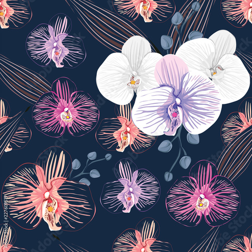 Seamless Pattern White And Pink Orchid Flowers On Isolated