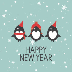 Hand drawn illustration with happy penguins, snow and lettering. Colorful background vector. Happy New Year, poster design. Decorative backdrop with english text, animal. Funny card, phrase