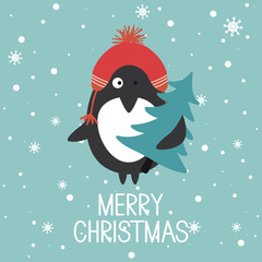 Hand drawn illustration with happy penguin, fir tree, snow and lettering. Colorful background vector. Merry Christmas, poster design. Decorative backdrop with english text, animal. Funny card, phrase