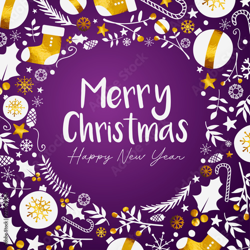 merry christmas happy new year golden purple background