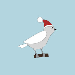 Christmas vector icon. Bird icon on blue background