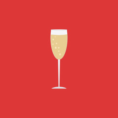 Champagne glass icon on red background. Christmas alcoholic drink.